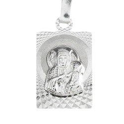 Medalik srebrny diamentowy - Matka Boska Częstochowska MD38