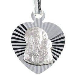 Medalik srebrny diamentowy serce - Matka Boska Częstochowska MD13