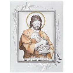 Obrazek Srebrny Pamiątka I Komunii prostokąt z podpisem DS29FOC