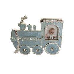 Ramka dziecięca z masy perłowej - niebieska, lokomotywa 473-3307