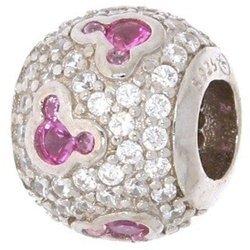 Srebrna przywieszka pr 925 Charms kulka z myszkami róż cyrkonie PAN039