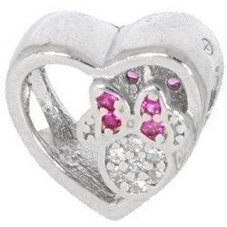 Srebrna przywieszka pr 925 Charms serce z Minnie z różową kokardką PAN006
