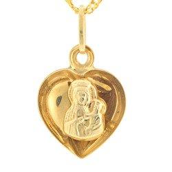 Złoty medalik pr. 585 M.B. Częstochowska serce wypukłe  ZM020