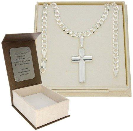 Krzyżyk na szyję z łańcuszkiem 5,2 mm Zestaw srebrny pr. 925 + GRAWER MO029/GZP1156L/P3