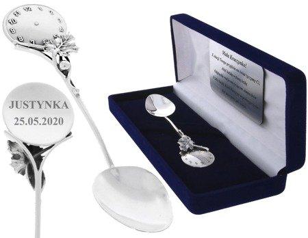 Łyżeczka srebrna pr. 925 z zegarem grawer gratis Ł01