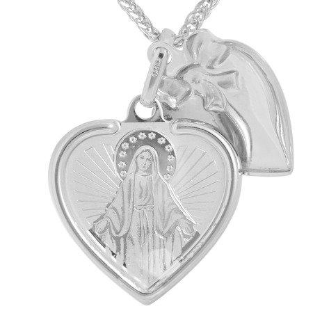 Medalik srebrny (2,1 g) - Serce otwierane Cudowny Medalik Niepokalana MK046