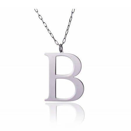Naszyjnik celebrytka literka B 3,0 cm srebro rodowane pr 925 CELB3CM