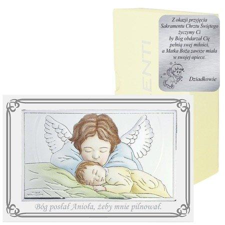 Obrazek srebrny Aniołek z latarenką nad dzieckiem podpisem 81288PLCOL