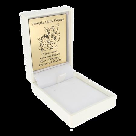 Pudełko z indywidualnym grawerem na laminacie grawerskim