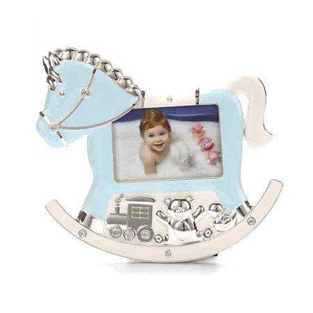 Ramka dziecięca z masy perłowej - niebieska, konik 473-3336