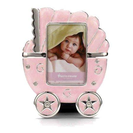 Ramka dziecięca z masy perłowej - różowa, wózek 473-3292