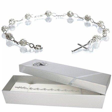 Różaniec srebrny - piękna ażurowa bransoletka na rękę w pudełku ozdobnym BRP01/P40/2