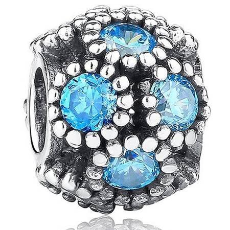 Srebrna przywieszka pr 925 Charms morskie skarby niebieskie oczka cyrkonie PAN196