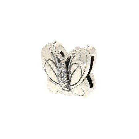 Srebrna przywieszka pr 925 Charms płaski motyl cyrkonie PANP002