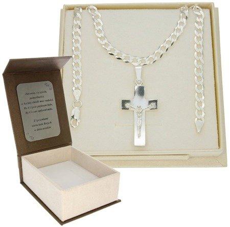 Zestaw srebrny łańcuch szer. 5,2 mm z krzyżykiem + GRAWER MO092/GZP1156L/P3