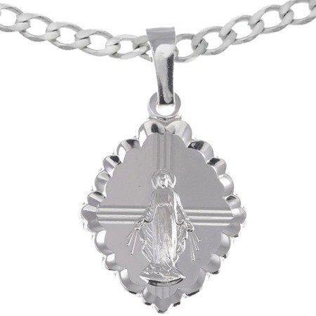 Zestaw srebrny pr. 925 medalik Matka Boża Niepokalana Cudowny medalik, łańcuszek MM006/L50GRF6-45
