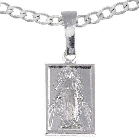 Zestaw srebrny pr. 925 medalik Matka Boża Niepokalana Cudowny medalik, łańcuszek MM013/L50GRF6-45