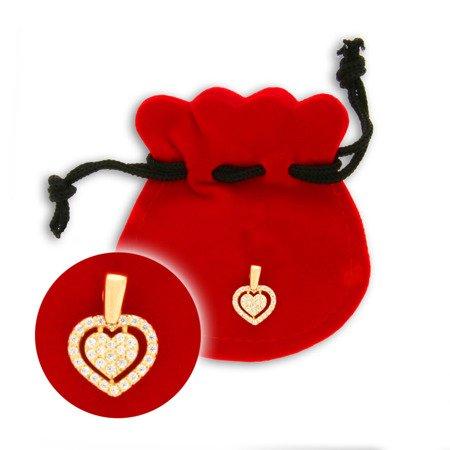 Złota przywieszka pr. 585 Podwójne serce z cyrkoniami ZP007