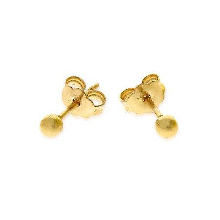 Złote kolczyki pr. 585 kulka mała sztyft ZA004