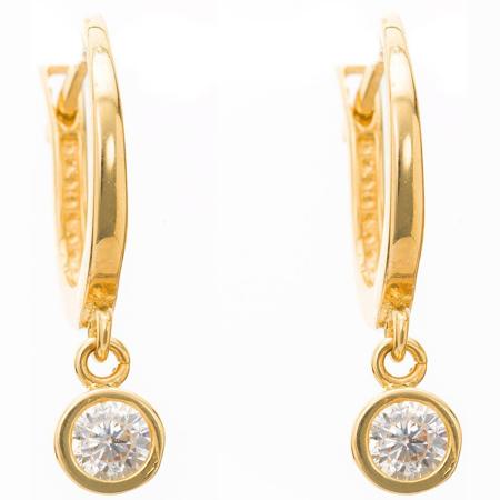 Złote kolczyki pr. 585 wisząca cyrkonia  ZA076