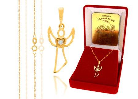 Złoty komplet pr. 585 anioł ZP002/ZL004/P7/FLOKCZERW/GZ