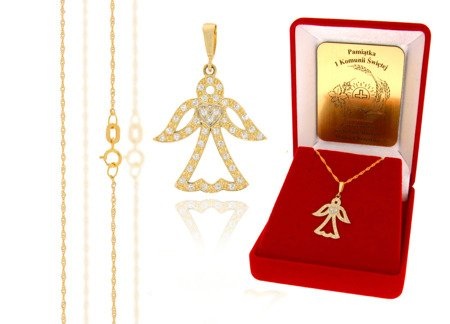 Złoty komplet pr. 585 anioł ZP034/ZL004/P7/FLOKCZERW/GZ