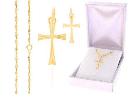 Złoty komplet pr. 585 krzyżyk łańcuszek ZK005/ZL004/PZH-3/NA/A1/GZ