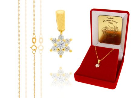 Złoty komplet pr. 585 kwiat ZP013/ZL004/P7/FLOKCZERW/GZ