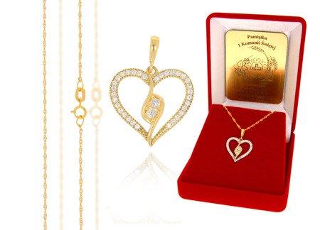 Złoty komplet pr. 585 serce ZP017/ZL004/P7/FLOKCZERW/GZ