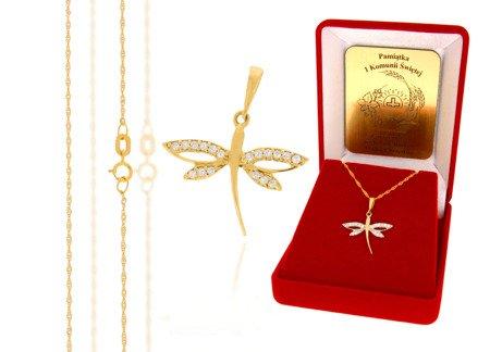 Złoty komplet pr. 585 ważka ZP016/ZL004/P7/FLOKCZERW/GZ