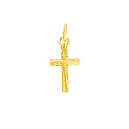 Złoty krzyżyk pr. 585 Krzyżyk płaski promienie ZK001