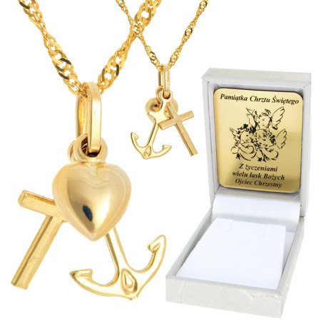 Złoty łańcuszek z krzyżykiem pr. 585 ZK037/ZL017-50/PZH-3/NA/A1/GZ