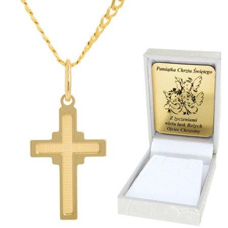 Złoty łańcuszek z krzyżykiem pr. 585 ZK044/ZL013-45/PZH-3/A1/GZ