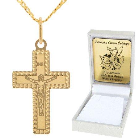 Złoty łańcuszek z krzyżykiem pr. 585 ZK052/ZL013-45/PZH-3/A1/GZ