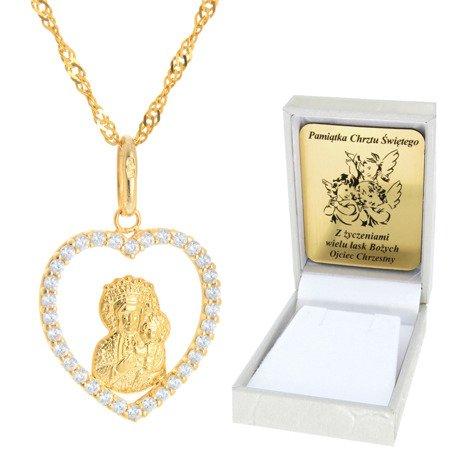 Złoty łańcuszek z medalikiem serce Matka Boska pr. 585